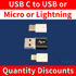 Picture of Micro USB USB-C Lightning female male Adapter
